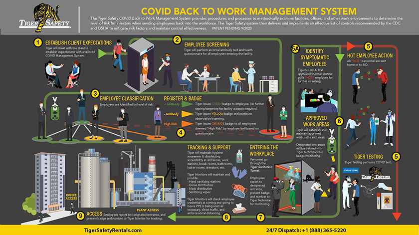 Tiger COVID Testing Back to Work Mangement Plan for Refineries and office buildings